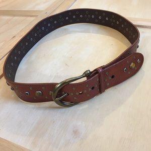 Michael Kors Brown Leather Tiger Eye Studded Belt